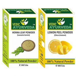henna leaf powder and lemon peel powder