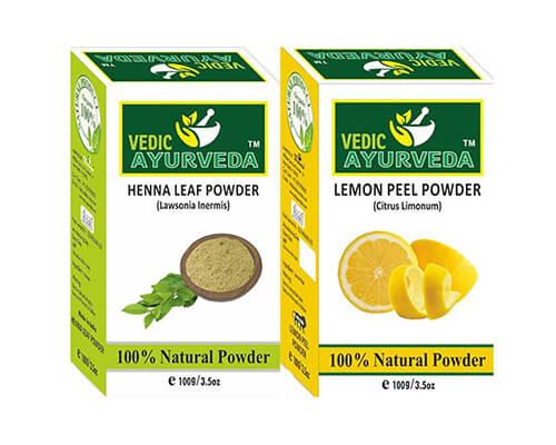 henna and lemon peel powder