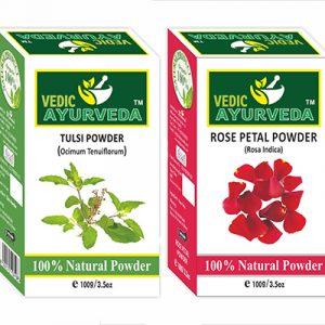 tulsi and rose petal powder for skin